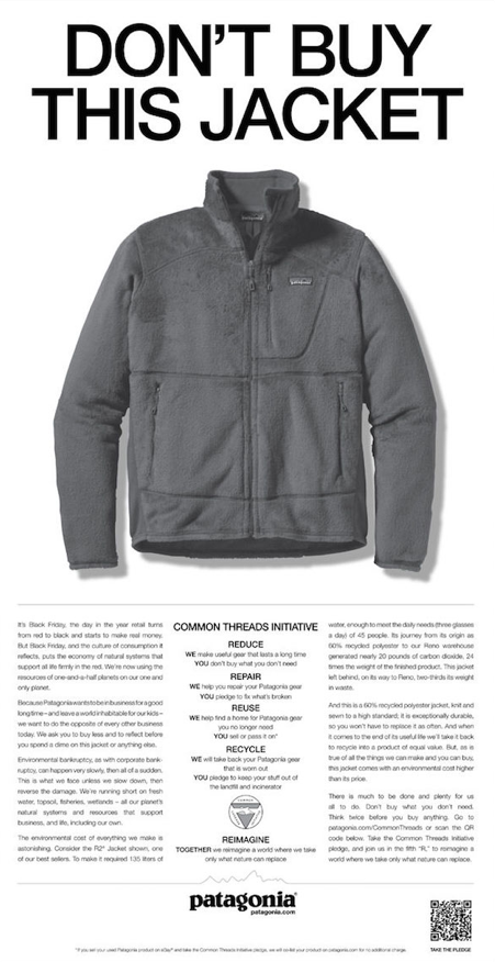 Patagonia's anti-marketing and anti-holiday stunt don't buy this jacket