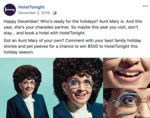 HotelTonight's visit don't stay campaign social media post