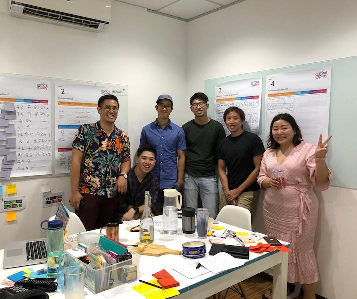 Group shot of antics' team after completing their 1st design sprint