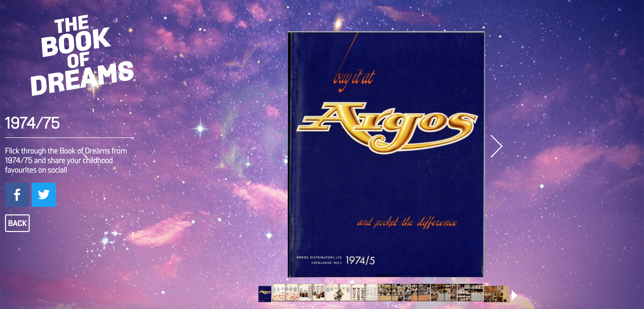 Argos' 70s book of dreams as a part of christmas campaign